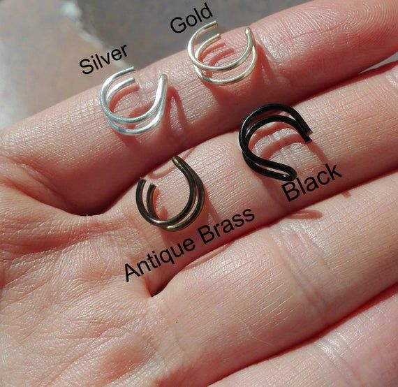 Double SILVER PLATED Gold or Silver Double Nose Ring/ Lip Ring Fake Piercing/HIGH quality wire(Non Tarnish) #doublenosepiercing