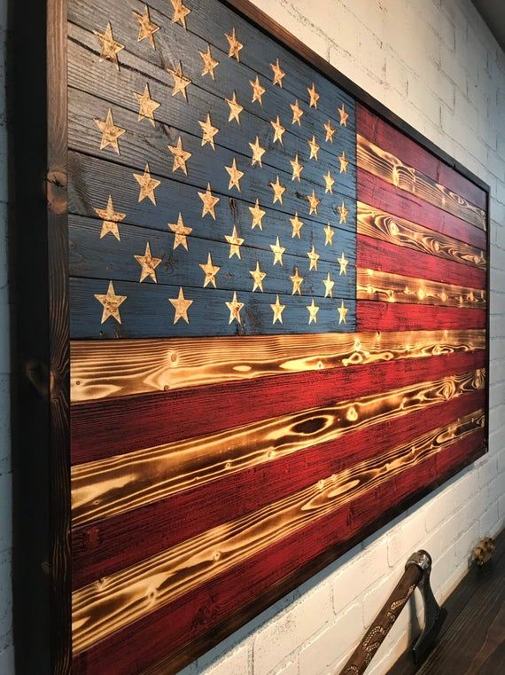 WOODEN AMERICAN FLAG w/ border, Painted Flag, 5th Anniversary, Handmade Flag, Wall Art, Gift for Him, American Decor, Rustic Home Decor