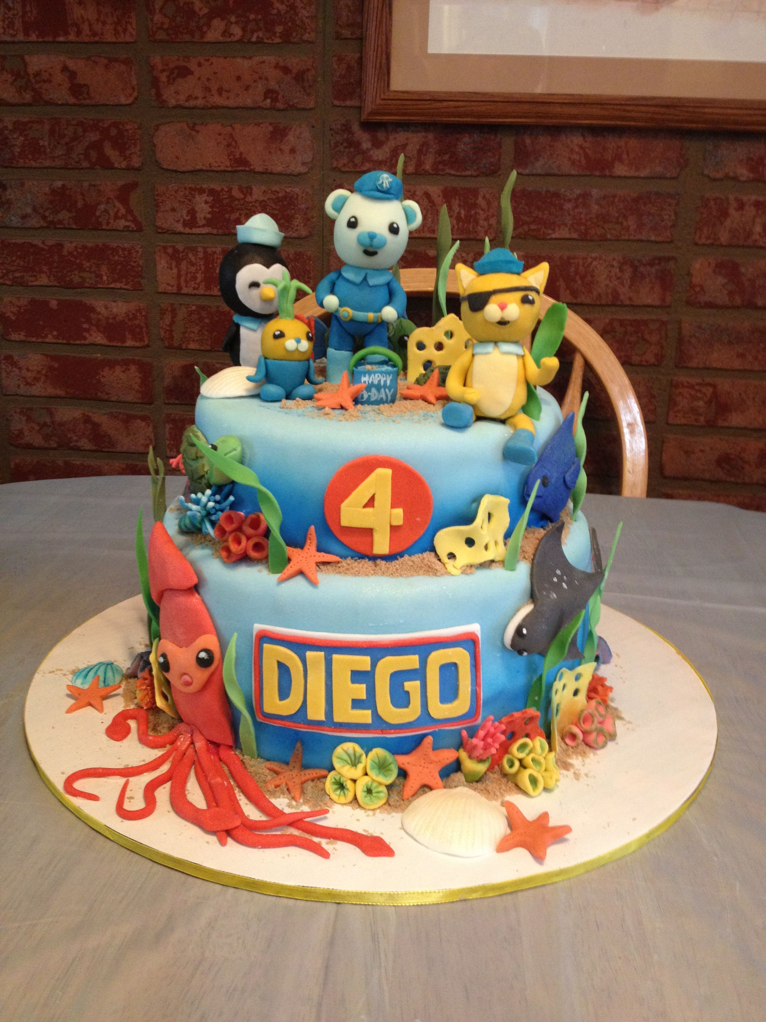 Octonauts Birthday Cake With Disney Characters Made Out Of Fondant