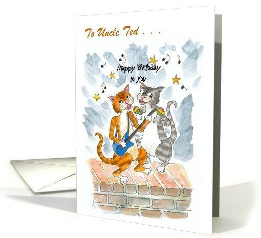 Custom Front Singing Cats Fun Birthday Card For Uncle Up To 350