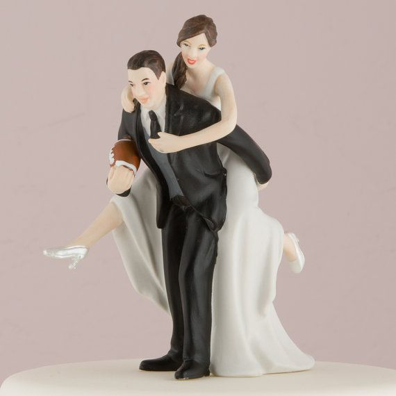 Customized Football Wedding Bride And Groom Couple Cake Topper Personalized Hair Color Romantic Gift Tackle American