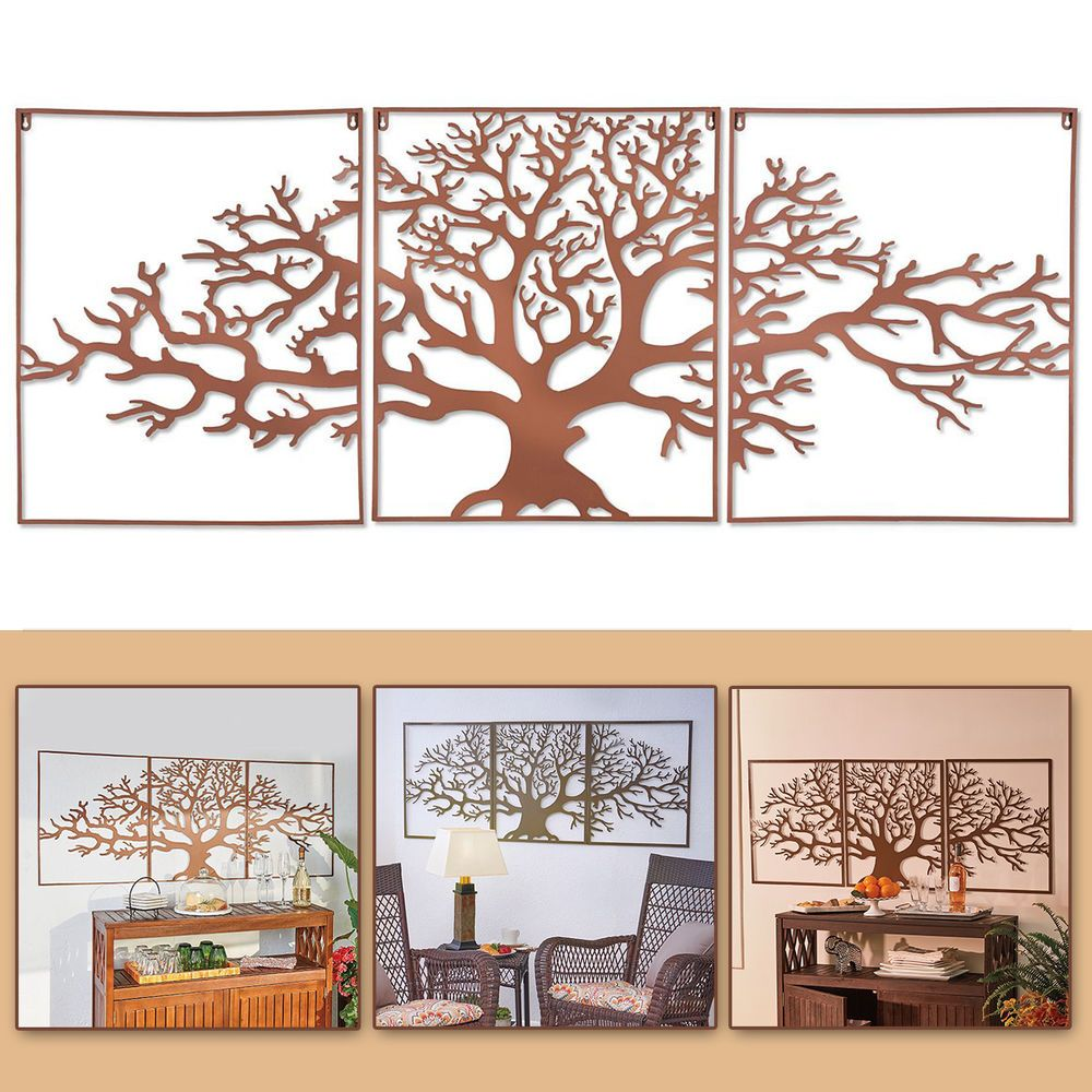 Large tree of life metal wall art framed pc set picture outdoor