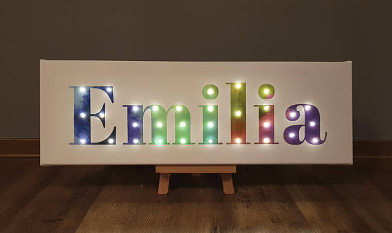 Check Out This Item In My Etsy Shop Https Www Etsy Com Listing 566360858 Lighted Name Sign Rainbow Wall Art Li Light Up Letters Rainbow Wall Art Rainbow Wall