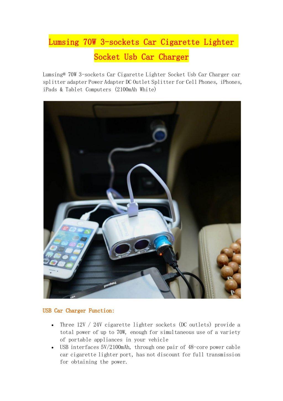 Lumsing 70w 3-sockets car cigarette lighter socket usb car