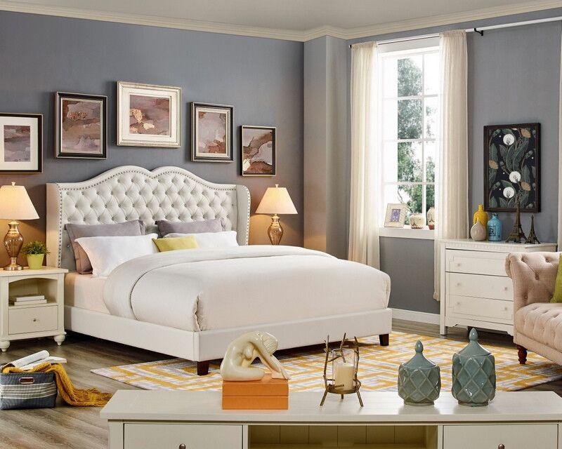Oah D3025 Sterling White Faux Leather Queen Tufted Bed Frame Set White Leather Bed Bed Frame Sets Leather Bed