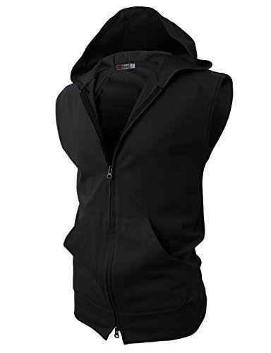 2a7abb44be83 Sleeveless Plain Black Hoodie   Men's Style   Sleeveless hoodie ...
