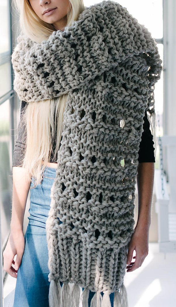 Knitting Pattern For Leo Super Scarf Easy Oversized Scarf Is A