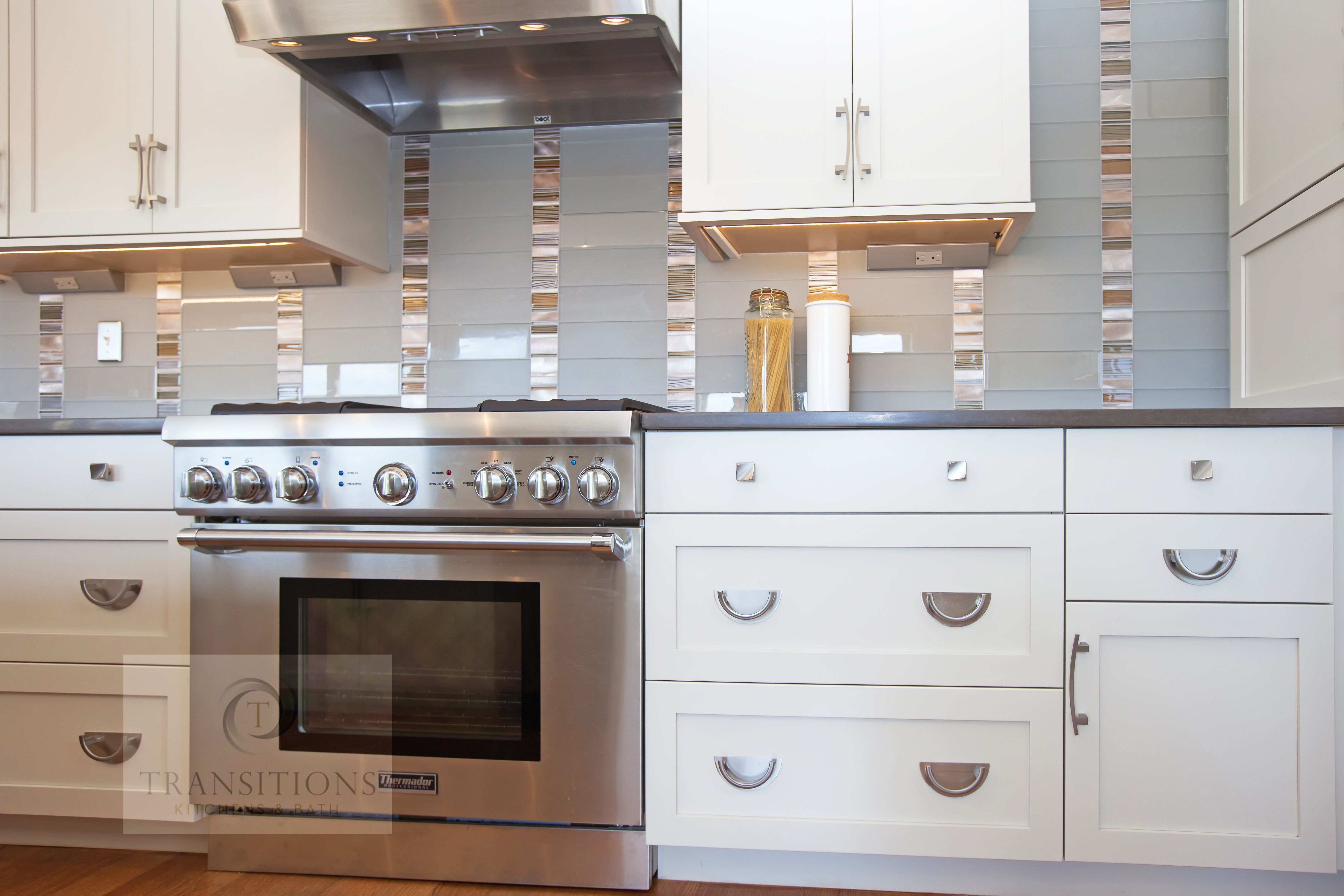 This transitional style kitchen design is a bright spot at the ...
