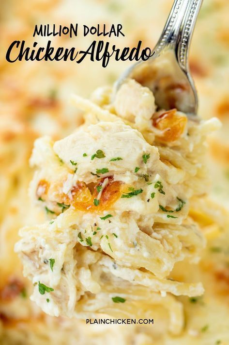 Million Dollar Chicken Alfredo - seriously delicious! Chicken, pasta, alfredo sauce and 4 cheeses! The BEST chicken alfredo EVER!!! Can make ahead and refrigerate or freeze for later. Spaghetti, cream cheese, sour cream, cottage cheese, chicken, Alfredo sauce, parmesan cheese and mozzarella cheese. Serve with a simple salad and garlic bread. Great for dinner parties and potlucks! Everyone loves this easy casserole! I never have any leftovers!!