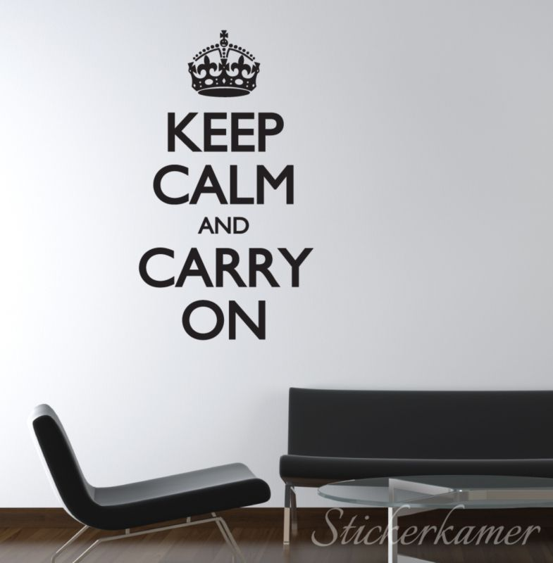 Muurtekst woonkamer letters Keep calm and carry on muursticker tekst ...