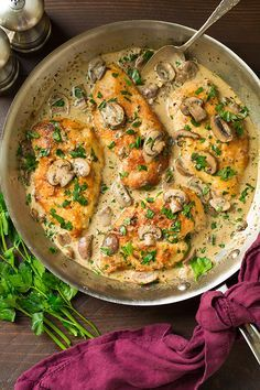 Skillet Chicken with Creamy Mushroom Sauce | Cooking Classy