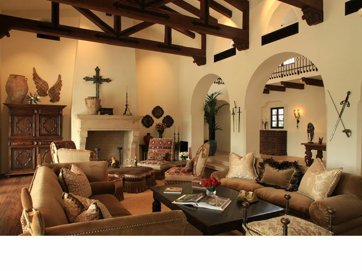 Living Room In Spanish Painting Southwest Style Home Traces Of Spanish Colonial & Native American .