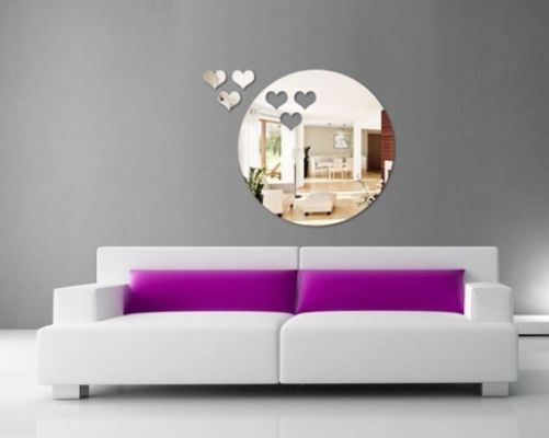 DIY Circle & Hearts Acrylic Mirror Wall Stickers Art Home Decor