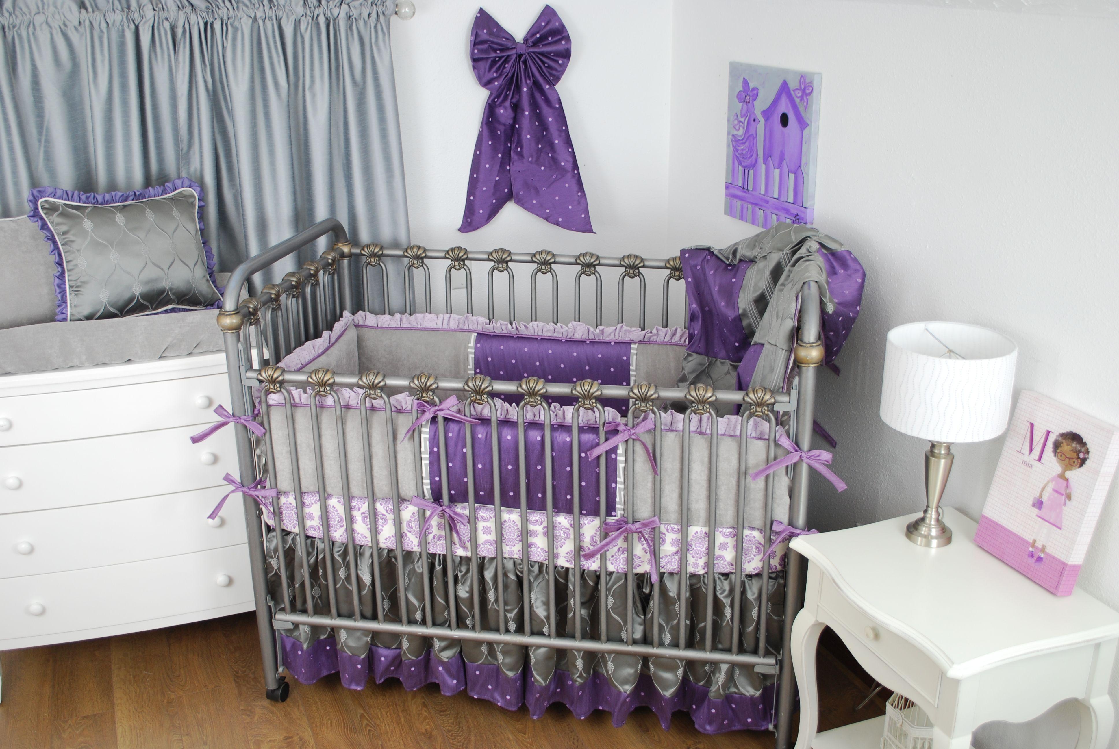 Purple And Grey Custom Crib Bedding