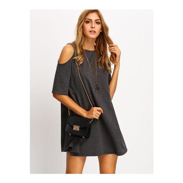 SheIn(sheinside) Grey Cold Shoulder Shift Dress ($20) ❤ liked on Polyvore featuring dresses, grey, short sleeve shift dress, cold shoulder dress, gray shift dress, grey cotton dress and short sleeve dress