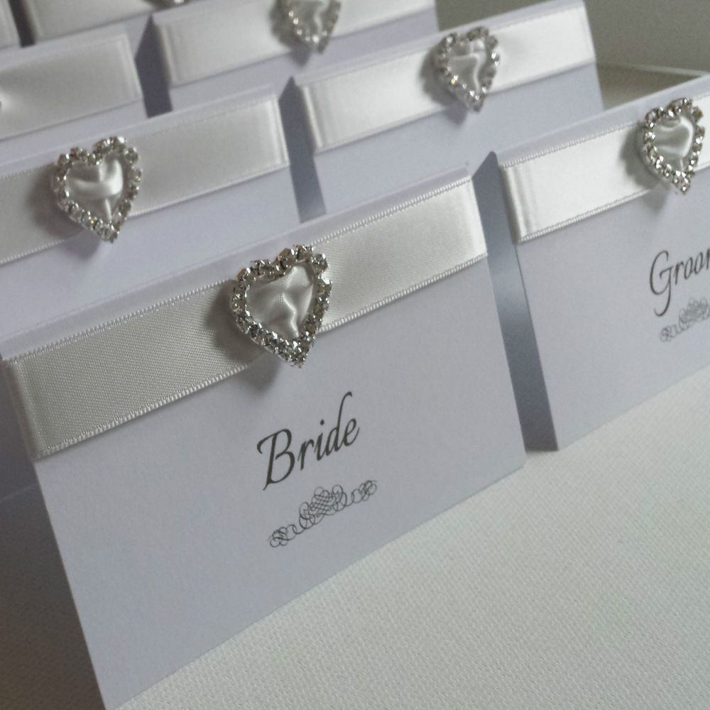 White Silver Personalised Heart Diamante Wedding Reception Name Place Cards