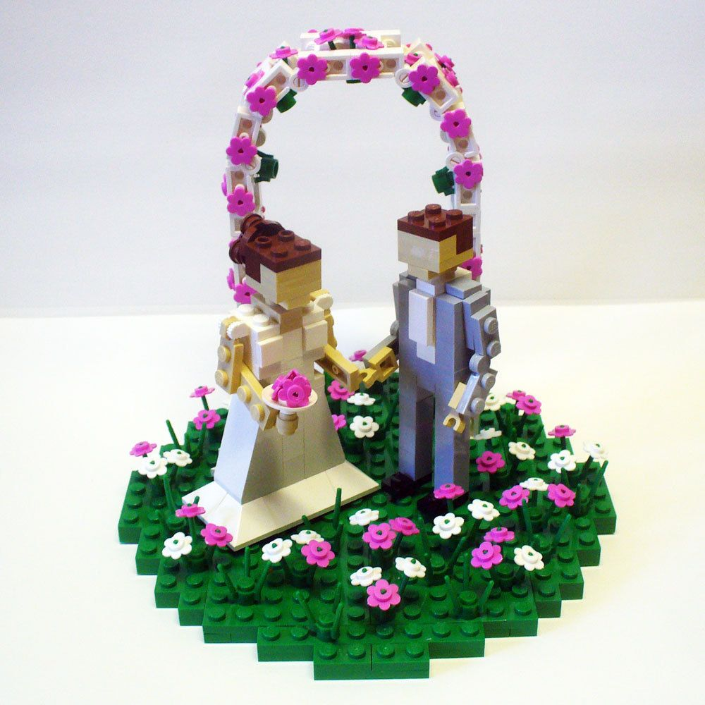 Custom LEGO Wedding Cake Topper Bride And Groom In Flower Patch With Arch 20000