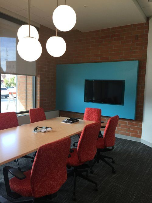 Conference Room Lighting Design: Conference Room / Globe Light Fixtures / Media Wall