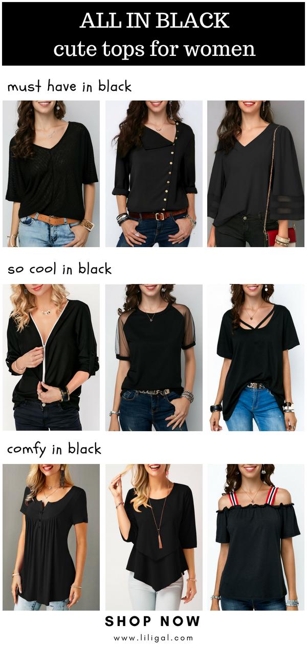 a73b87097e632 Check 20+ cute black tops for women on Liligal.com  liligal  black ...