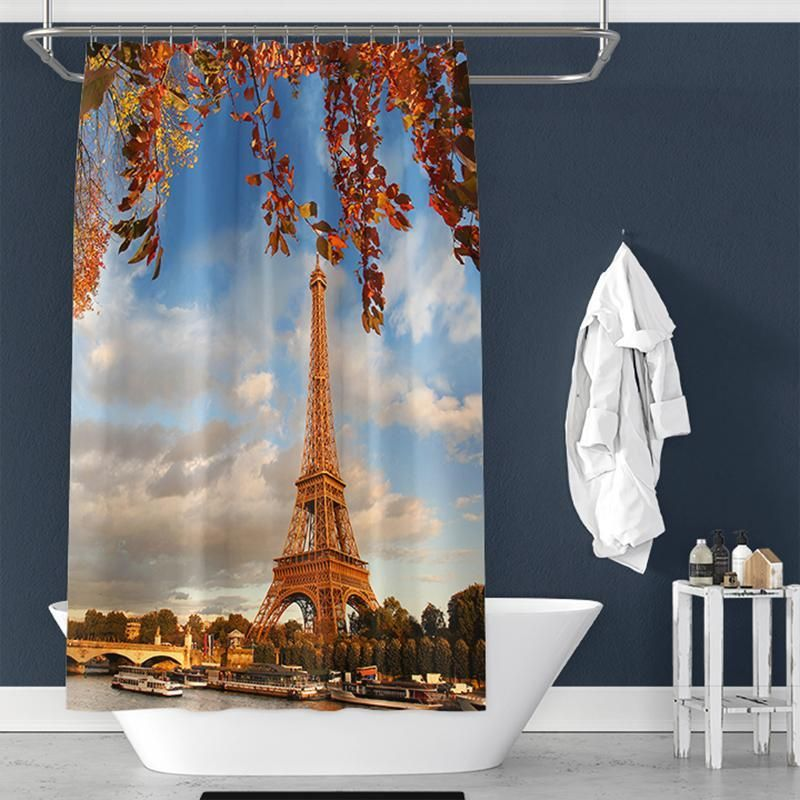 Teen Room Shower Curtain Woman Eiffel Tower Print for Bathroom