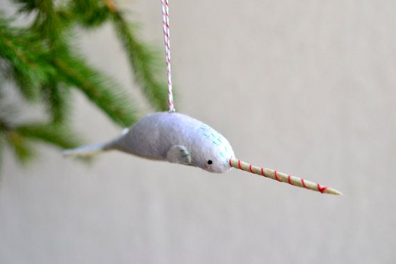 wannttt peppermint narwhal narwhal christmas ornament by mountroyalmint 4200 - Narwhal Christmas Decoration