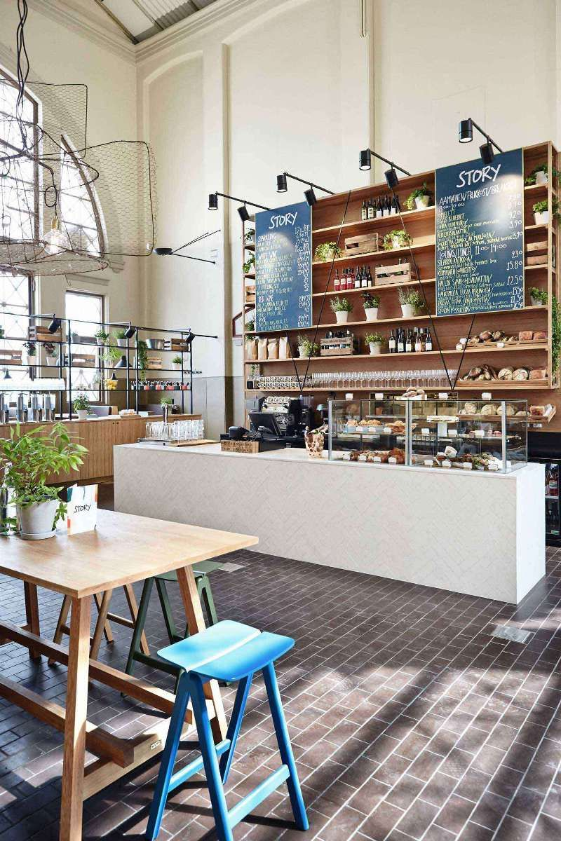 i think i've pinned before- but reiterating sliding menu board on back bar wall...white shelves instead of wood. nice simple pastry case (and blue accent with wood, white, gray & black...)