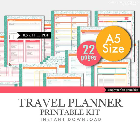 Travel Planner Printables Set - Planner Inserts - A5 Size - 5.8 x 8.3 inches - Instant Download