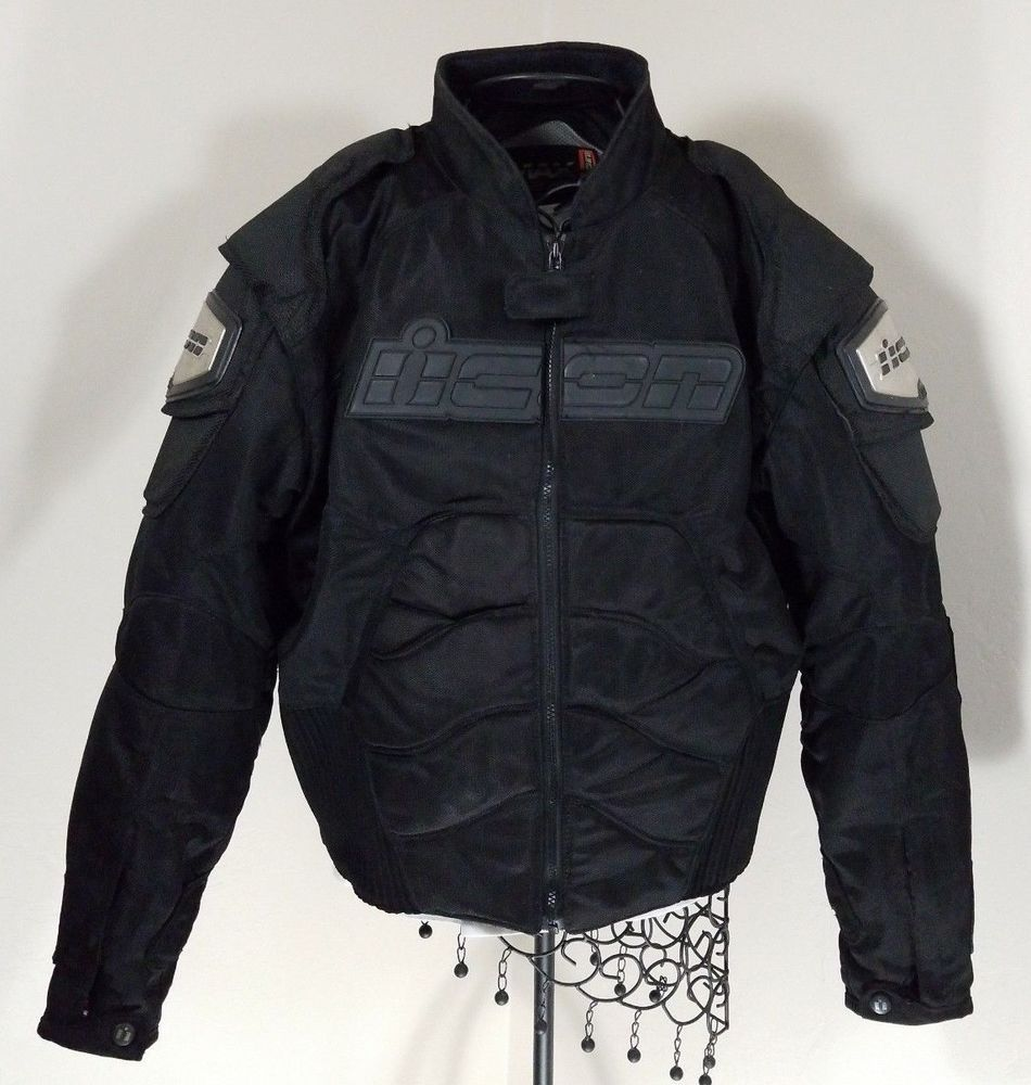 Icon Timax 2 Black Titanium Mesh Motorcycle Jacket Size XL
