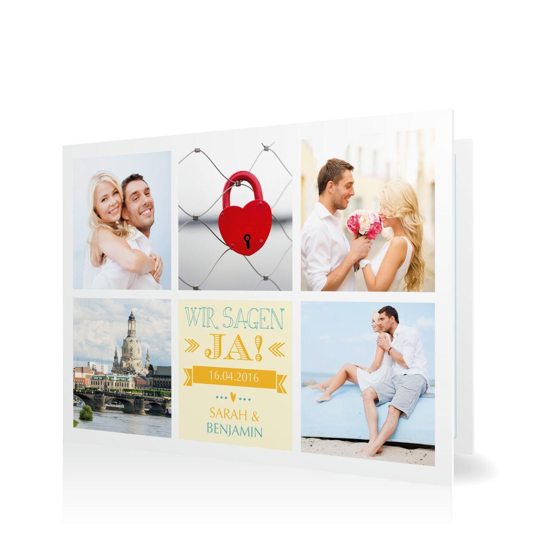 Hochzeitseinladung Mosaik in Citron - Klappkarte flach #Hochzeit #Hochzeitskarten #Einladung #Foto #kreativ #modern https://www.goldbek.de/hochzeit/hochzeitskarten/einladung/hochzeitseinladung-mosaik?color=citron&design=30&utm_campaign=autoproducts
