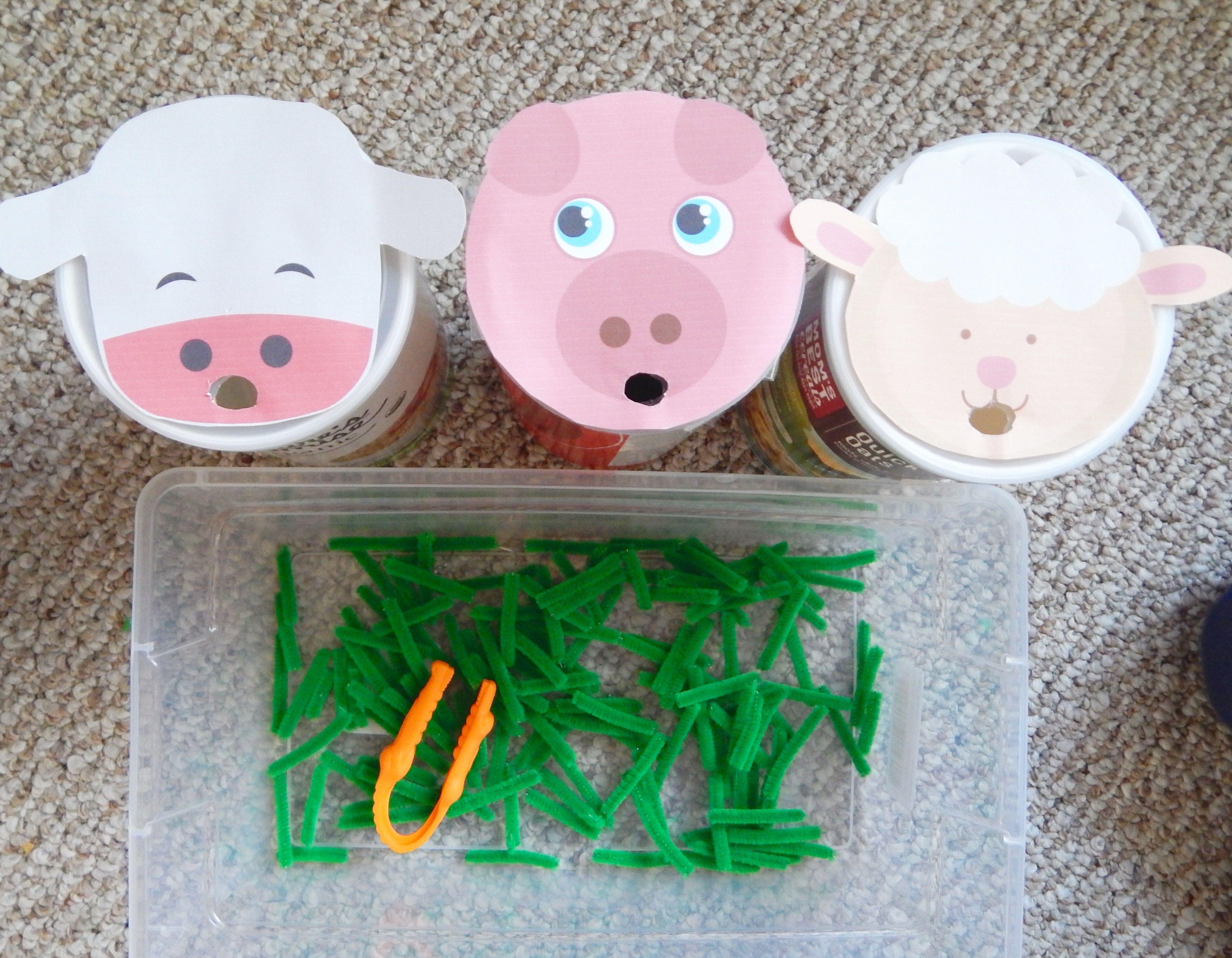 Feed The Farm Animals Fine Motor Toddler Activity