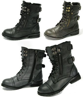 NEW Girls Lace Up Combat Boots Military Buckle Zipper Low Heel Kids Size Shoes
