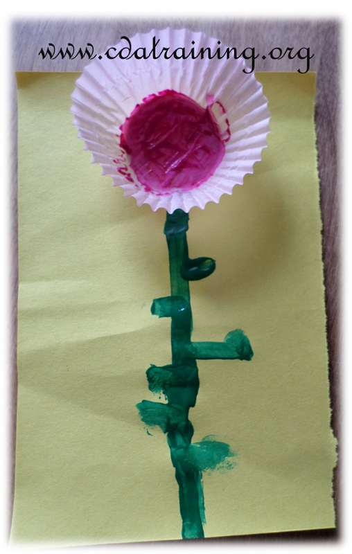 flower out of coffee filter or cupcake liner.
