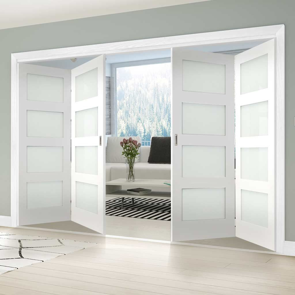 Four Folding Doors Frame Kit Coventry Shaker 2 2 Frosted Glass White Primed With Images Folding Doors Interior Room Divider Doors Folding Doors