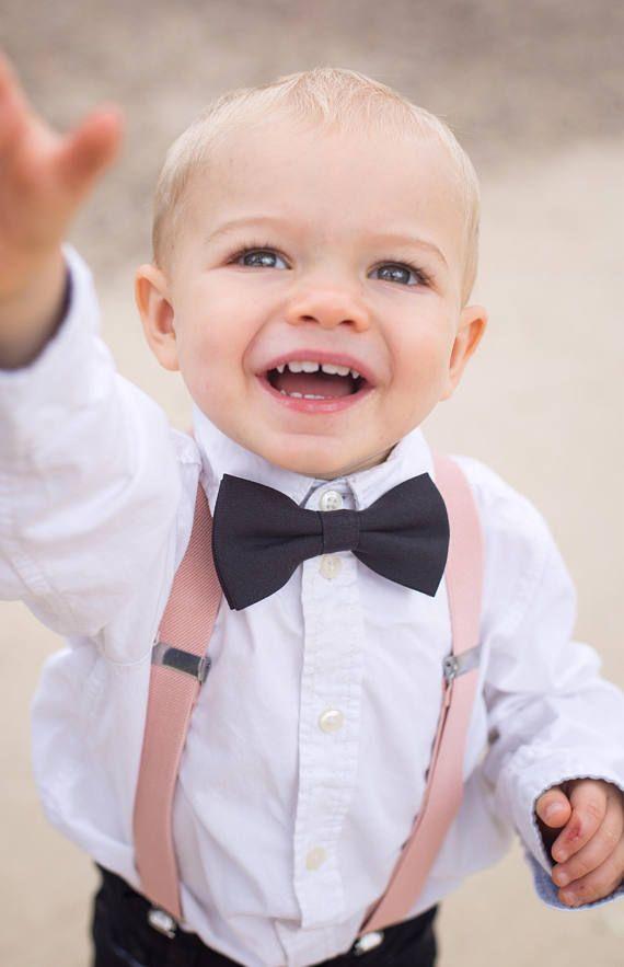 fce1b9a0c4b93 Blush Wedding Suspenders, Black Boys Bow Tie, Toddler Wedding Outfit ...