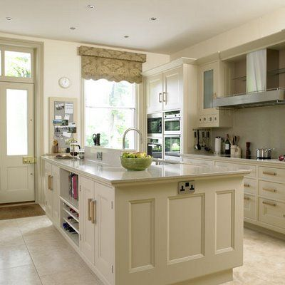 Beige/linen Colored Kitchen Cabinets With Slightly Darker Counters And  Stainless Appliances.