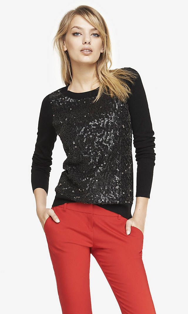 50d2a3b5add SEQUIN FRONT CREW NECK SWEATER