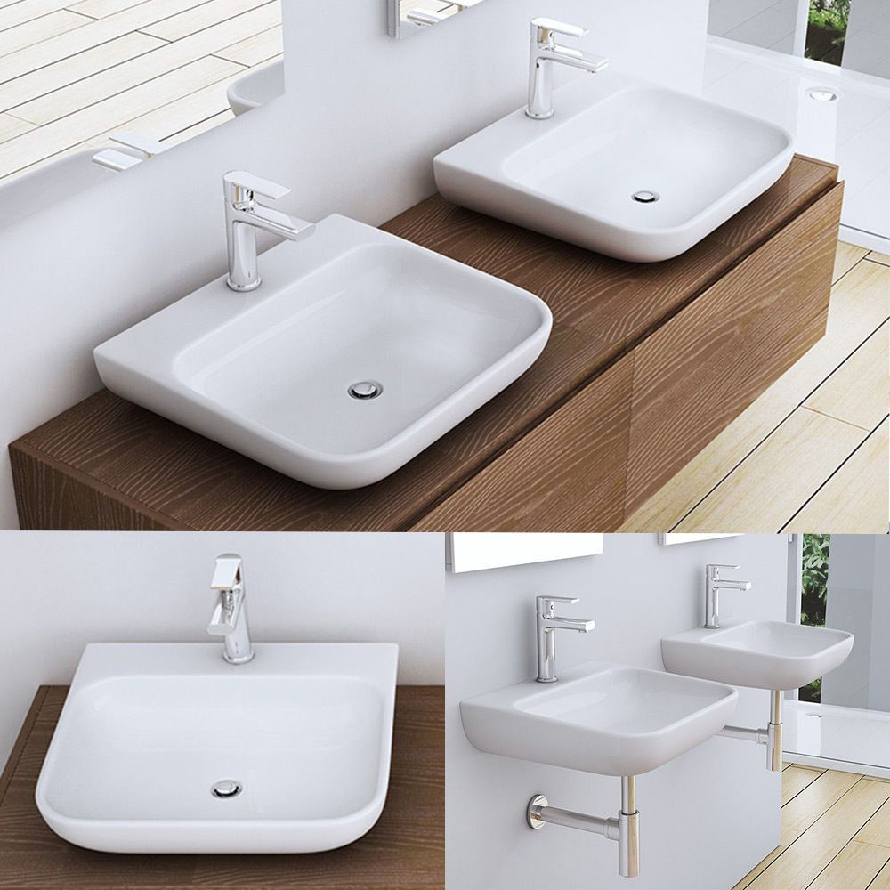 60 Stone CounterTop Wall Mounted Curved Rectangle Bathroom Basin ...