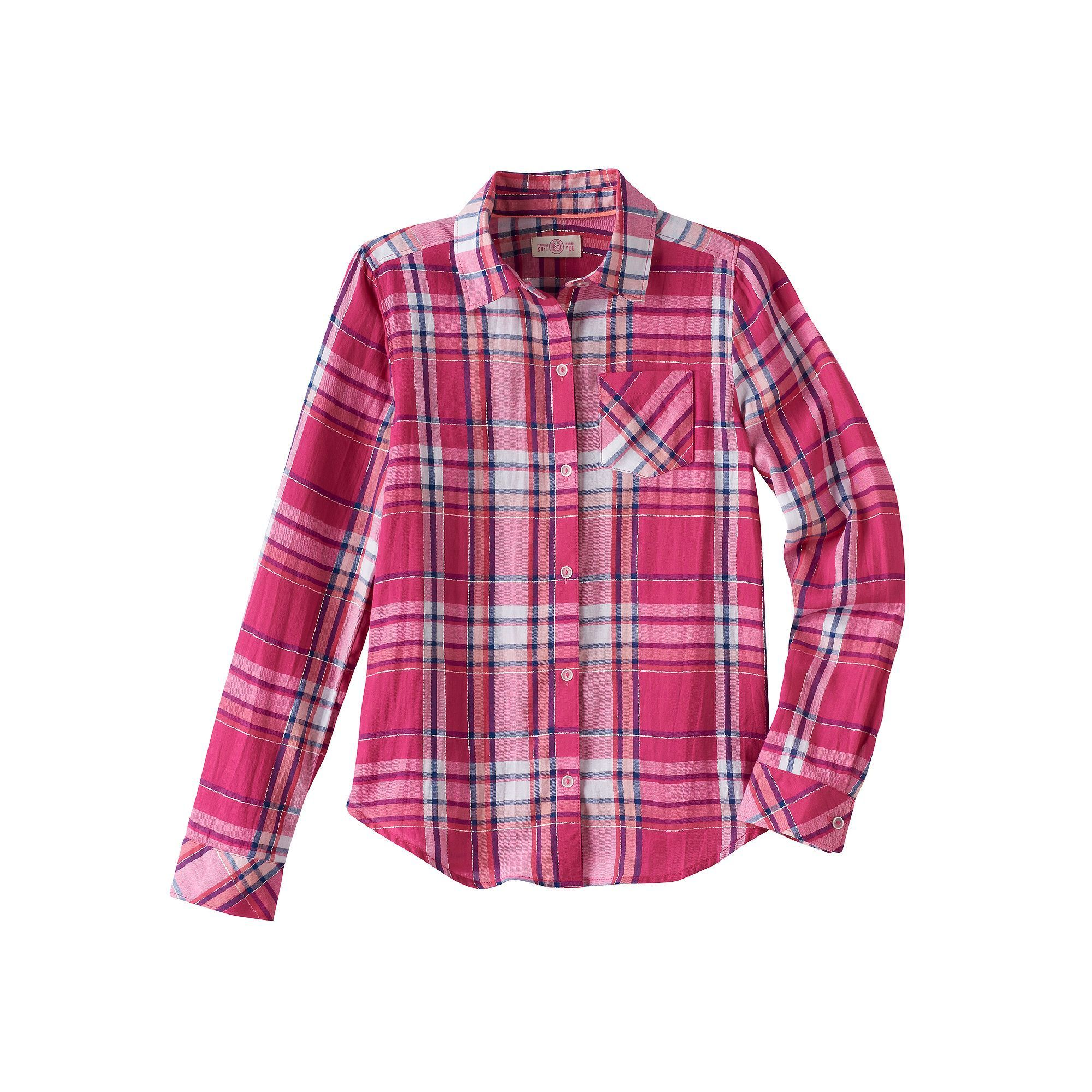 Flannel shirts at kohl's  Girls  u Plus Size SOÂ Shine Plaid ButtonDown Shirt Size