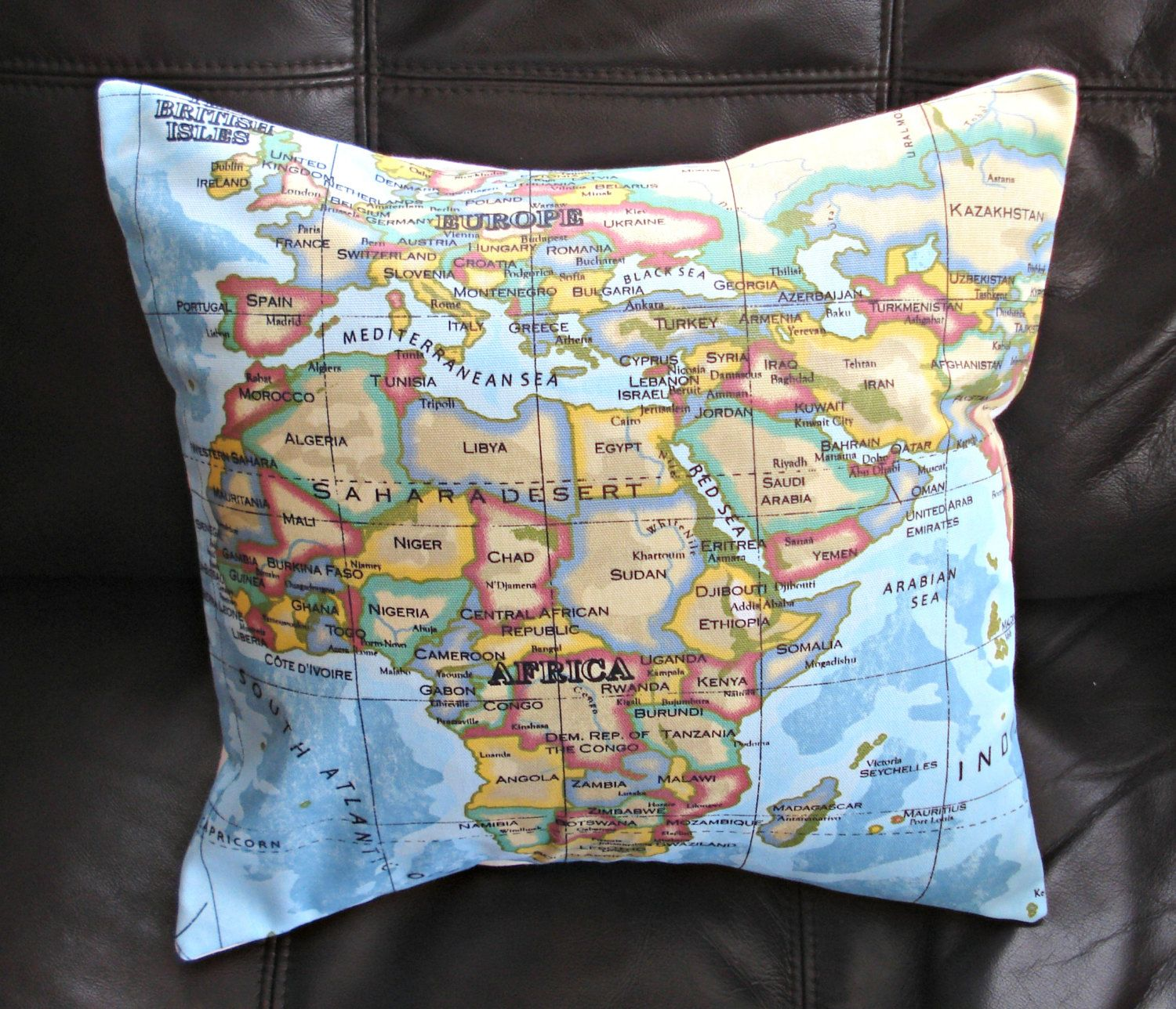 Pillow world map atlas 16 inch uk ireland africa madagascar pillow world map atlas 16 inch uk ireland africa madagascar seychelles egypt india tibet europe united kingdon italy france spain greece gumiabroncs Gallery
