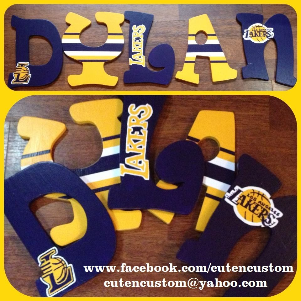 Lakers Basketball Nursery Letters Boys Bedroom Themes Hanging