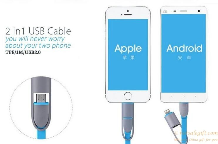 2 in 1 retractable usb cable data charger cable for samsung