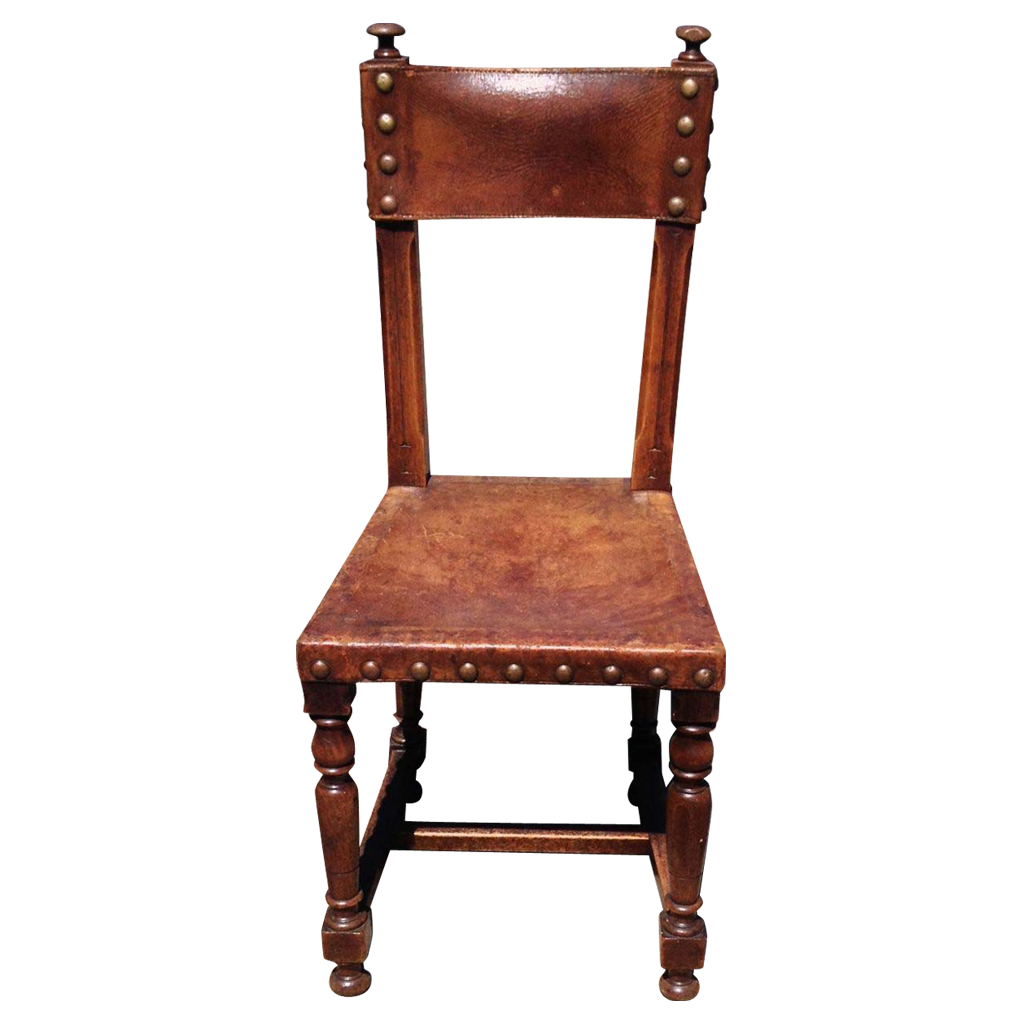 Antique Spanish Leather Hall Chair with Decorative Nail-heads | Nail ...