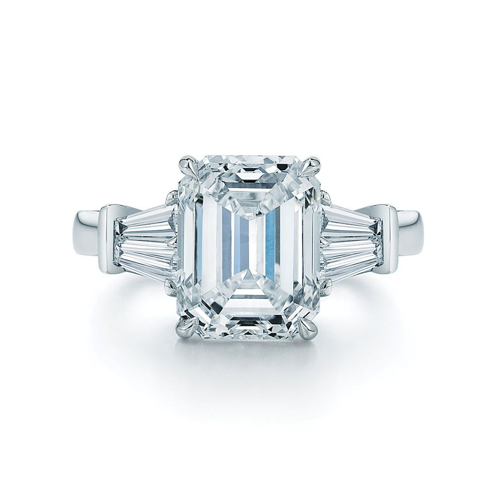 Emerald Cut Center Stone Engagement Ring With 2 Tapered