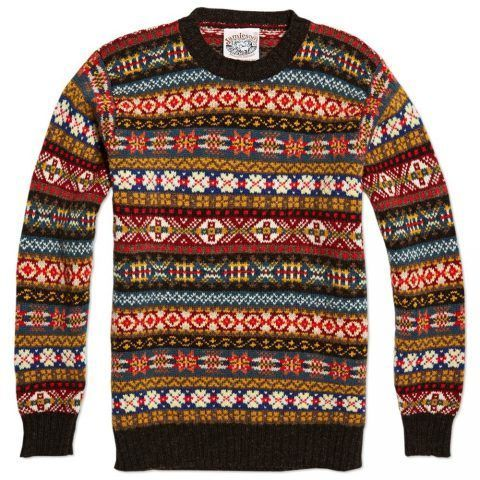 Jamieson's of Shetland Fairisle Crewneck | Cardigans For Men ...