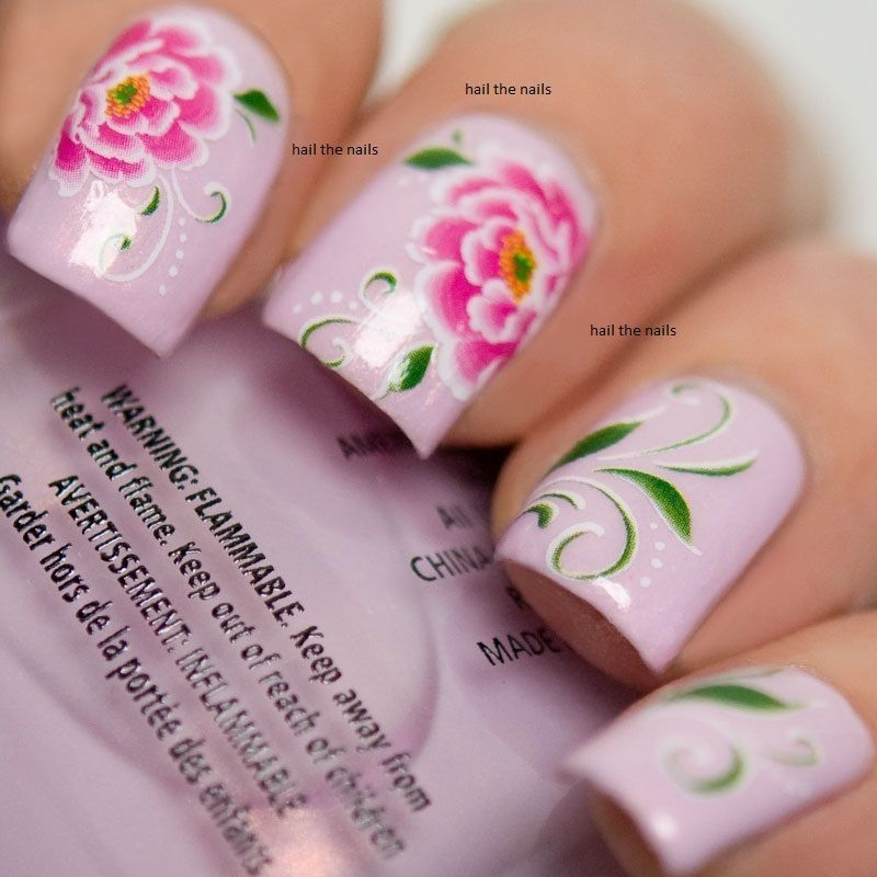 Pink Peony Flowers Nails Wraps Nail Art 3D Wedding Decals Water ...