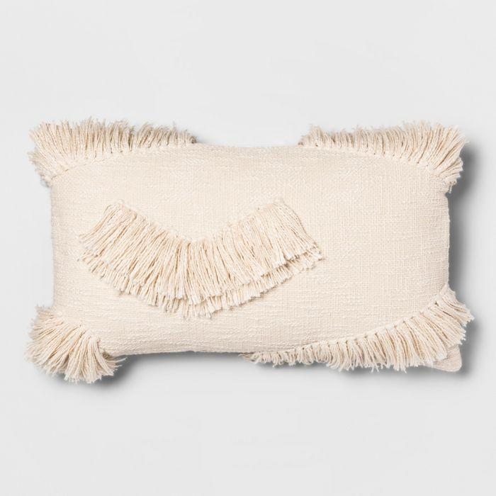Textured Fringe Oversize Lumbar Throw Pillow Cream - Opalhouse™ : Target