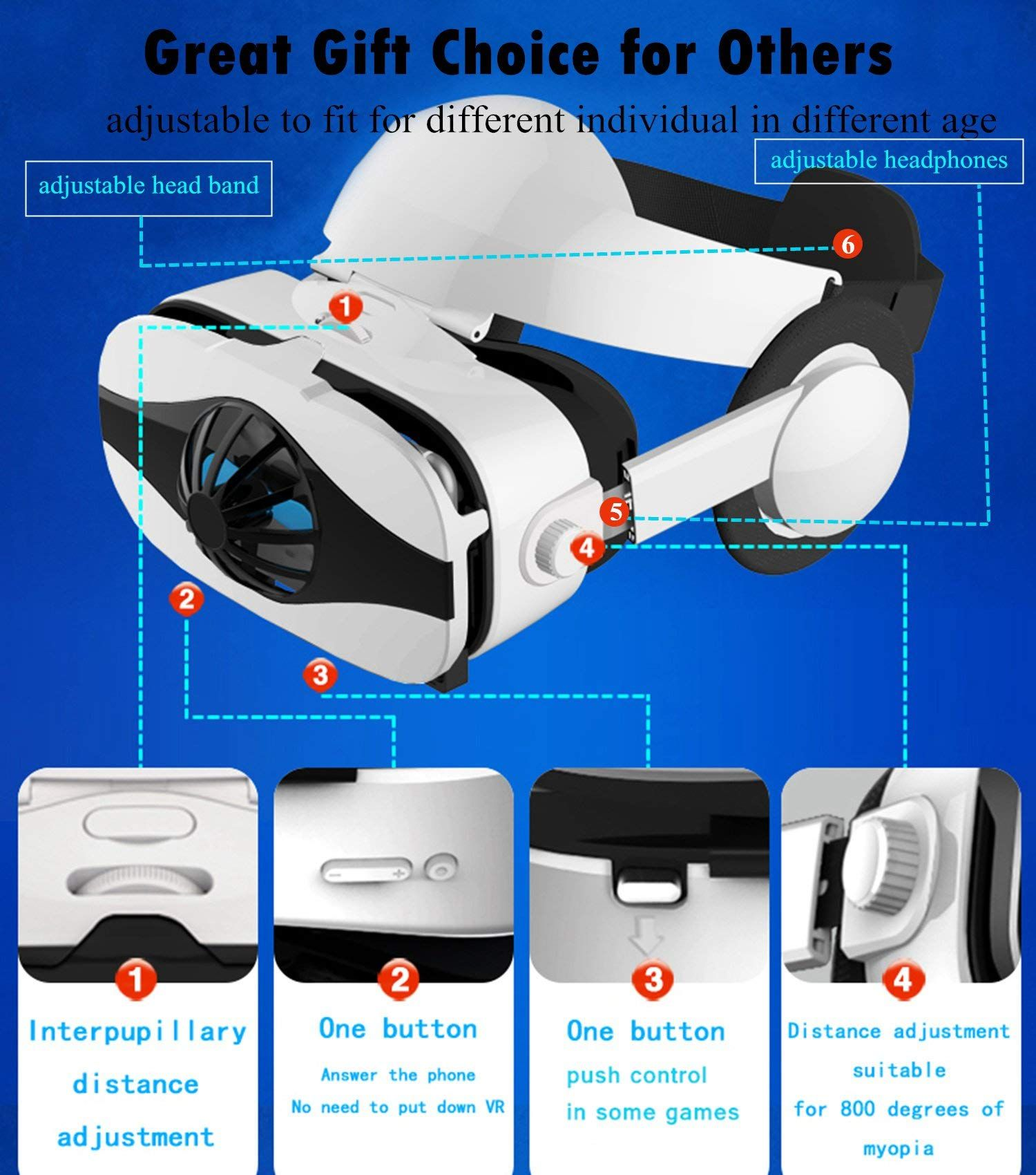 85507c43fea 3D VR Glasses Headset 2018 New Virtual Reality Goggles w HiFi Headphone and  Fan 3D Movie Game Viewer Compatible for Apple iPhone Xs Max XR X 8 7 6S 6  Plus ...