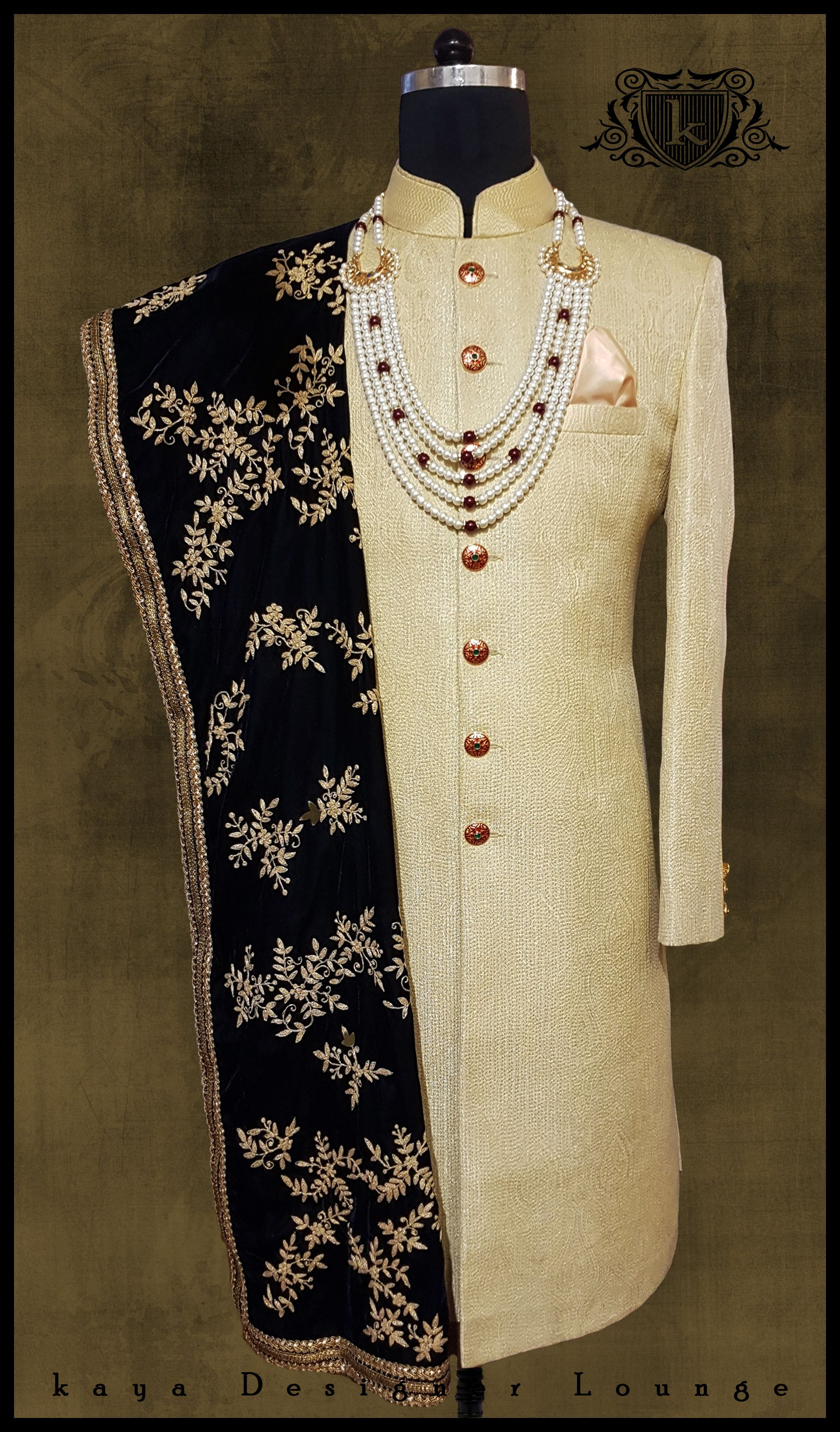 Traditional wear embroidered sherwani hand embroidery velvet stole