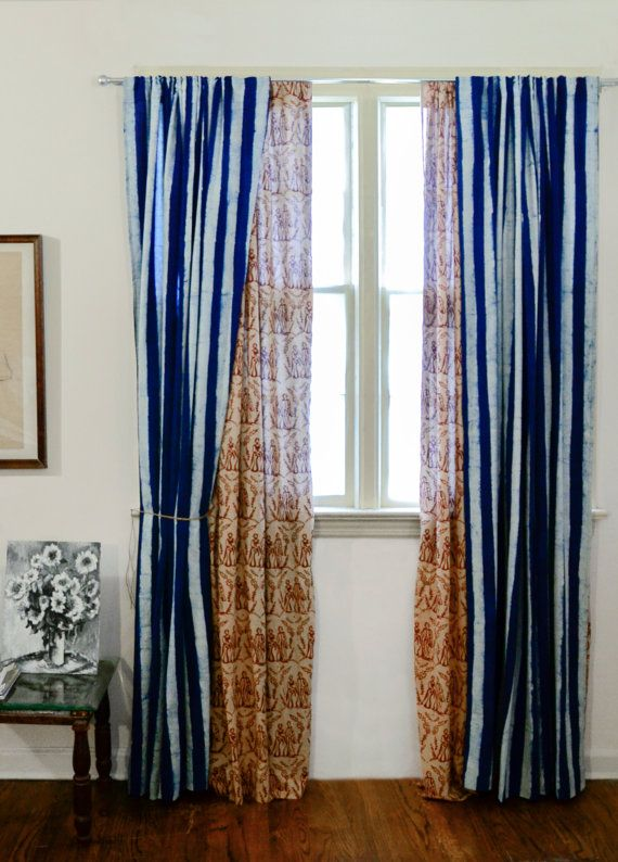 Curtains Ideas 92 curtain panels : Indigo Navy Blue Window Curtain, Hand Dye, Natural Dye - 92