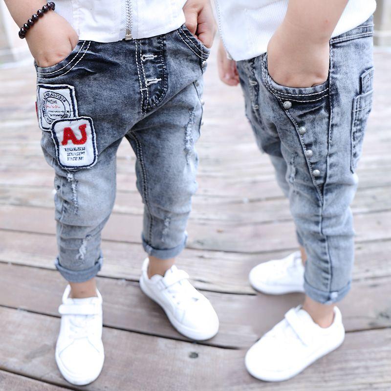 484478e1cc077 cowboys jersey boys jeans kids letter patchwork cotton fashion baby boy  leggings children trousers designer jeans clothes 2-7T